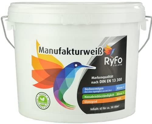 RyFo Colors Manufakturweiß 6l (Größe wählbar) - unsere beste Profi Wandfarbe, sehr ergiebige zertifizierte Innen-Dispersion, Innenfarbe weiß, hoher Weißgrad, Deckkraft Klasse 1, Nassabrieb Klasse 1