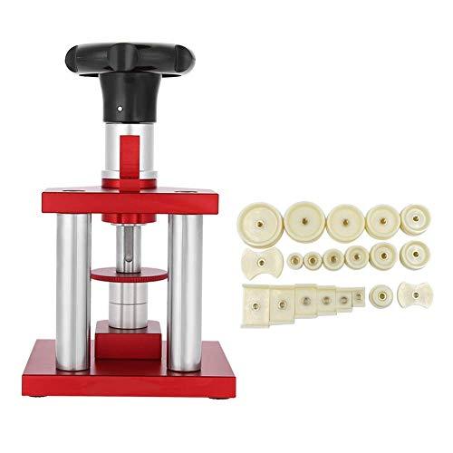 woyaochudan Herramienta de Prensa de Reloj Tipo de Tornillo Bisel de Cristal preciso Herramienta de Prensa de la Cubierta de la Caja Trasera del Reloj con 20 Troqueles Reparación de prensado