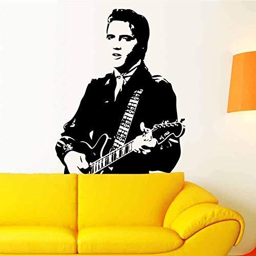 Abnehmbarer Vinyl-Aufkleber, Motiv: Elvis Presley Gitarre, Wandtattoo, Wandaufkleber, Jungen, Schlafzimmer, Heimdekor, Vinilos, Parede, Elvis Presley, Gitarre, abnehmbarer Vinyl-Aufkleber