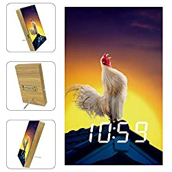 AISSO White Rooster Crowing On Roof LED Alarm Clocks Digital for Bedrooms Kitchen Office Custom Home Decor