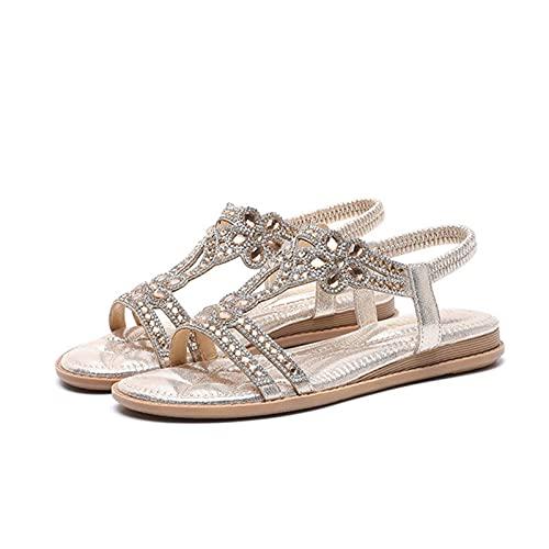 KovBexJa Sandalias Planas De Goma Huecas De 3 cm con Diamantes De Imitación para Mujer Bohemio Moda Informal Vacaciones Playa Zapatos para Mujer Dorado