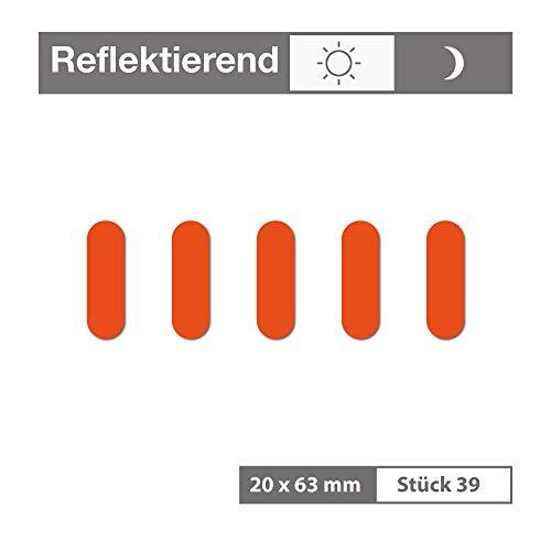 Reflektierende Aufkleber als Kreis lang (39 Stück, 20x63 mm, orange) - selbstklebend und wetterfest - für Garagen, Einfahrten, Schulranzen, Zäune, Fahrräder, Motorräder - Reflexfolie Reflektorfolie