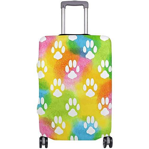 Rainbow Color Animal Dog Paw Print Funda de Equipaje de Viaje Flexible Protector de Maleta Cubiertas de Equipaje con impresión Personalizada Se Adapta a 18/19/20/21 Pulgadas