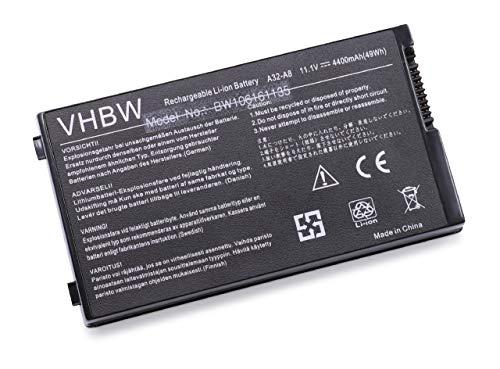 Batterie haute performance Li-Ion 4400 mAh 11,1 V en noir compatible pour ASUS remplace A32-F5 A8, L3TP, B991205, SN31NP025321, de 90 NF51B1000