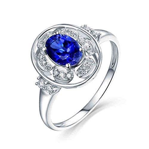 Aartoil 18K White Gold Wedding Bands for Women Oval Tanzanite 0.885ct Ring (Tanzanite: 0.885ct/1pcs) Size J 1/2