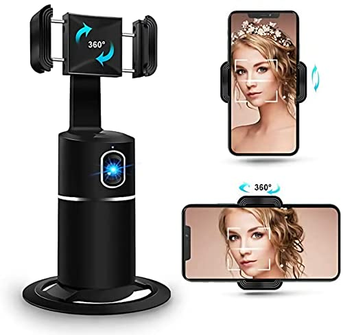 DigitCont Face Tracking Tripod, Phone Holder, 360° Rotation, AI Auto Face Object Tracking Selfie Stand, Best for Live Stream, Tiktok, Compatible with iPhone Android Phone (Black)
