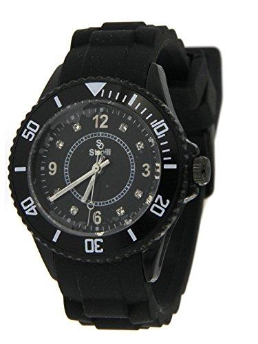 Stroili Watch Orologio Solo Tempo Nero con Ghiera Girevole, cassa in Acciaio e Cinturino in Silicone Referenza B0383-3
