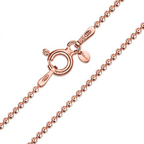 Amberta 925 Sterlingsilber 14k Roségold Damen-Halskette - Diamantierte Kugelkette - 1.2 mm Breite - Verschiedene Längen: 40 45 50 55 60 cm (50cm)