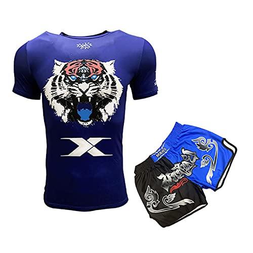 HUAN Muay Thai Shorts Taje de Boxeo MMA Kick Boxing Grappling Arts Martial Gear UFC Hombres Blue-S