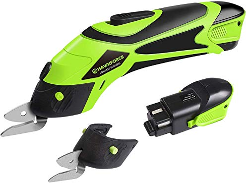 Hawkforce Electric Scissor 2 Rechargeable Batteries 2 PCS Cutting Blades Power Cordless Scissors 4V Li-Ion Box Cutter Shears Cutting Tool for Cutting Fabric, Leather