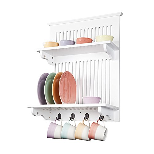 Aston White Kitchen Plate Rack, Wooden and Wall Mounted. Solid Top Shelf above and hooks under, Contemporary Storage by Elegant Brands