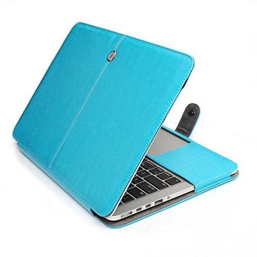 L2W 2016 Macbook Pro 15 Premium Funda de Cuero PU Funda de Cuero PU Funda de Estuche Funda para 15-Inch MacBook Pro Retina con Multi-Touch Bar Modelo A1707 (USB-C) (2016 Oct. Release) (Azul)