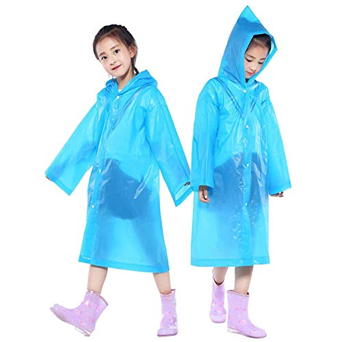 PERTTY 2 Pcs Kids Rain Ponchos Reusable Raincoats Portable Rain Wear with Hat Hood Unisex for 6-12 Years Old Children (Blue)