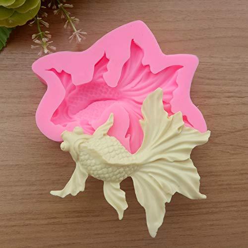 HUIZHANG Karpfen Goldfisch Formen DIY Silikon flüssigeForm DIY Fondant Kuchen Dekor Schokolade Zucker Candy Pudding Form Backwerkzeug