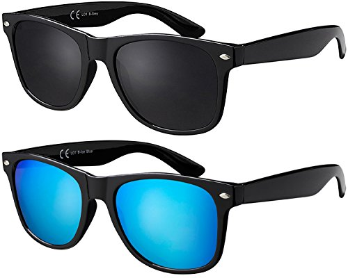 La Optica B.L.M. Herren Sonnenbrille UV400 Damen Unisex Retro Vintage - Doppelpack Set Glänzend Schwarz (Gläser: 1 x Grau, 1 x Türkis Verspiegelt)