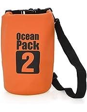 MyGadget Bolsa Estanca 2L - Bolsa Impermeable - Dry Bag Protección Waterproof Mochila para Viajes y Deportes cómo Kayak, Surf - Naranja