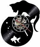 Acuario Gato Art Deco Reloj de Pared Vintage Vinilo de Pared Gatito Reloj para Mascotas Mural de Pared Habitación de los niños