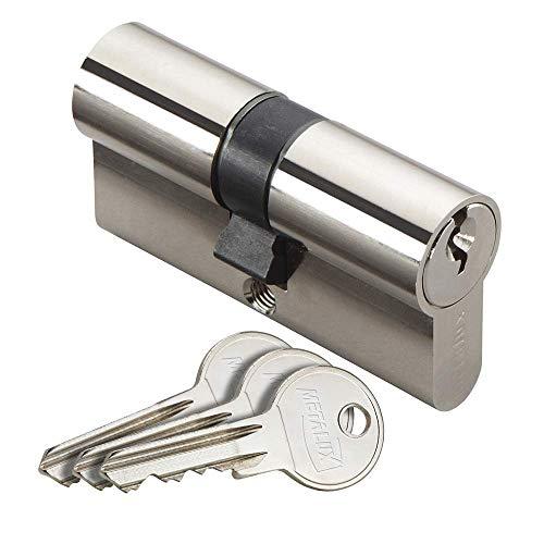 Metalux Serie K – Cilindro de cerradura estándar de perfil europeo doble entrada 30 x 30 anti-ganzúas, protección contra el taladro, incluye 3 llaves