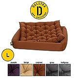 Dalstra Orthopädisches Hundebett mit Kissen komplett Waschbar, Formstabiles Haustierbett in Cognac Größe L 60 x 50 x 15cm