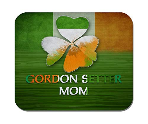 Rae Esthe Makoroni - Gordon Setter mom Bandera de Irlanda - tréboles irlandeses diseño de tréboles de Hojas de st Patric - Goma Antideslizante - Alfombrilla de ratón para computadora, Juegos, Oficina