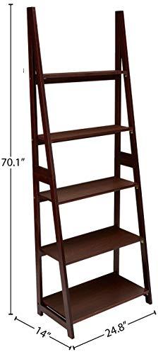 AmazonBasics Modern 5-Tier Ladder Bookshelf Organizer with Solid Rubber Wood Frame, Espresso