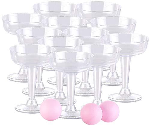 infactory Spiele: Trinkspiel-Set Prosecco Pong mit 12 Sektgläsern (je 125 ml) & 3 Bällen (Party-Spiele)
