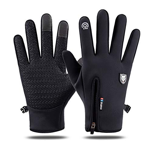 Unisex Cycling Gloves - Full Finger Outdoor Windproof Cycle Mountain Bike Running Anti-slip Smartphone Touchscreen Glove for Men,Women,Sports,Winter,Driving,Hiking,Climbing,Camping(Black-M)