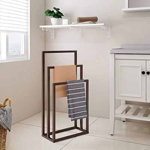 HOMERECOMMEND Metal Towel Bathroom Rack 3 Bars Freestanding Drying Shelf 3 Tier Storage Organizer Brown Washcloths Holder
