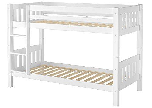 Erst-Holz® Schönes Kinderstockbett Kiefer Massivholz weiß 90x200cm Kinderzimmer Etagenbett Rollrost 60.06-09W