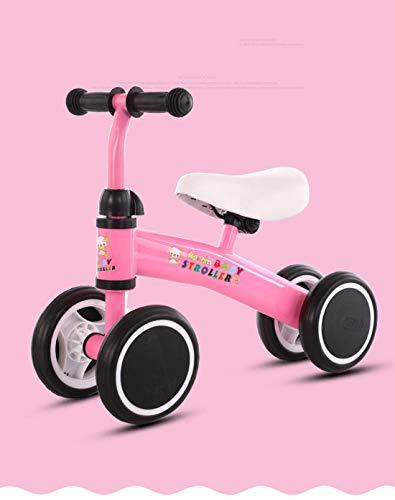 LWKBE Baby-Laufräder Fahrrad Spielzeug keines Pedal-Baby 4 Räder mit verstellbarem Sitz für 12 Monate -36 Monate Kleinkinder ersten Geburtstag-Neuer Jahr-Geschenk,Rosa