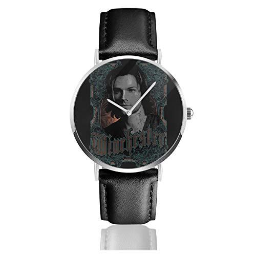 Unisex Business Casual Supernatural Sam Winchester Uhren Quarz Leder Uhr mit schwarzem Lederband für Männer Frauen Junge Kollektion Geschenk