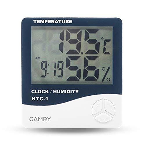 温湿度計デジタル LCD大画面 高精度 温度計 湿度計 ℃/℉切替 最高最低温湿度表示 メモリー機能 室内温度計湿度計 時計 目覚まし時計付き 2way置き掛け両用タイプ コンパクト 小型 操作簡単 スマート家電 健康管理 熱中症 乾燥対策 日本語説明書付 (ブラック)