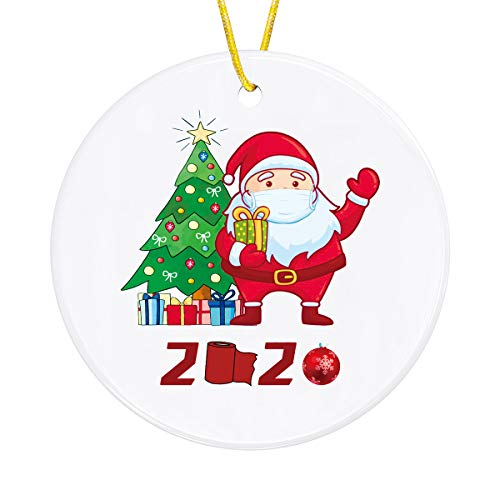 KUTOLAKI Christmas Hanging Ornaments, Customized Quarantine Theme 2020 Santa Hanging Ornaments, Porcelain Double-Side Printed Xmas Tree Hanging Pendant Decorations Party Decorations.