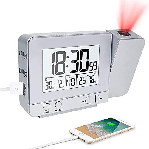 CAMPSLE Pantalla LED Proyector Despertador, Temperatura Humedad Retroiluminación con Pilas Reloj Giratorio Reloj de Escritorio Digital LED para la decoración del Dormitorio del hogar