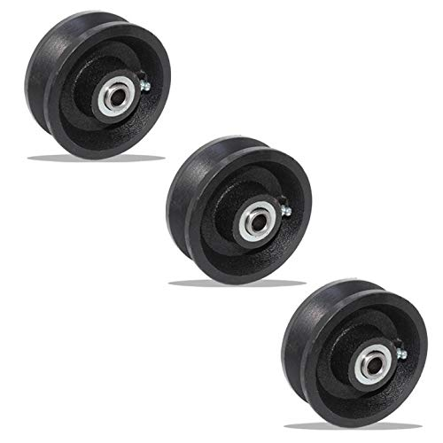 "Set of 3 of V-Groove Wheel 4"" X 2"" with Roller Bearing (1/2"" ID)"