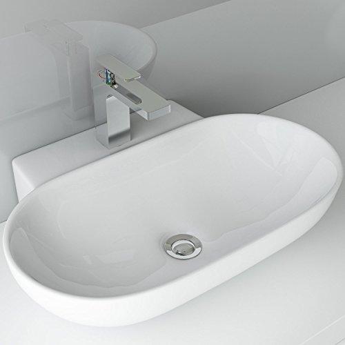 Waschbecken24 DESIGN KERAMIK AUFSATZWASCHBECKEN WASCHTISCH WANDMONTAGE FÜR BADEZIMMER GÄSTE WC A86