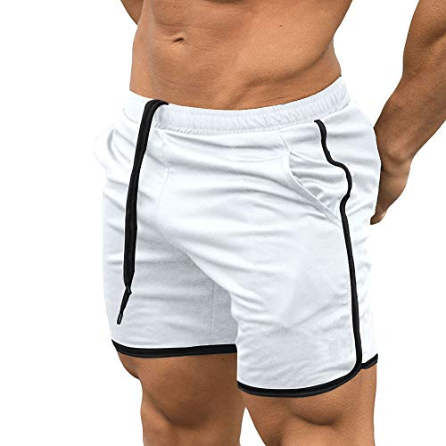 EVERWORTH Men's Gym Workout Boxing Shorts Running Short Pants Fitted Training Bodybuilding Jogger Short White M Tag XL