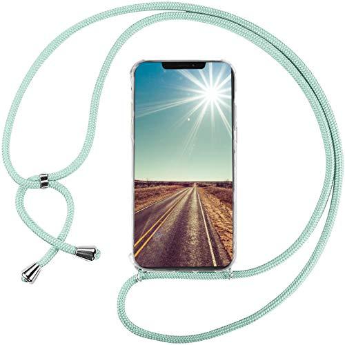 Mi-Case Funda con Cuerda para Xiaomi Poco X3 Pro/Xiaomi Poco X3 NFC, Carcasa Transparente TPU Suave Silicona Correa Colgante Ajustable Collar Correa de Cuello Cadena Cordón - Verde