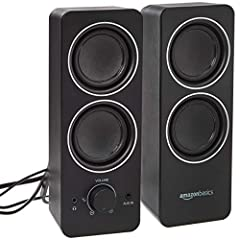 AC-powered (13W) wired multimedia speakers with dual 2.5-inch drivers per speaker for supreme stereo sound with notable deep bass Turn the speakers on and adjust the volume using simple, easy-access controls (located on the front of the speakers); vo...