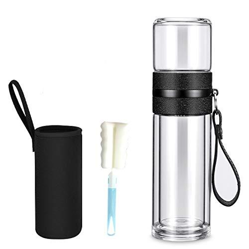 400ml Infusor de té de vidrio con filtro colador separado, cámara de infusión de té de doble pared, taza de té de viaje para hojas sueltas calientes y agua de frutas a prueba de fugas, portátil-black