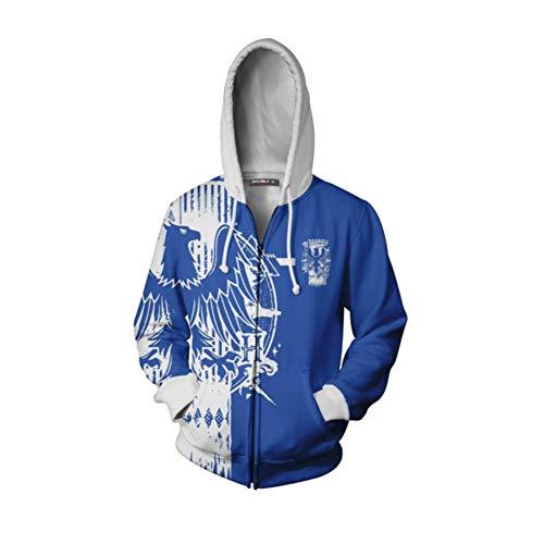 Kordelzug Kapuze Sweatshirts, Harry Potter Theme Ravenclaw Cosplay Jacke Frauen Mann Langarm Mantel Reißverschluss Cardigan Hoodie,Blau,5XL