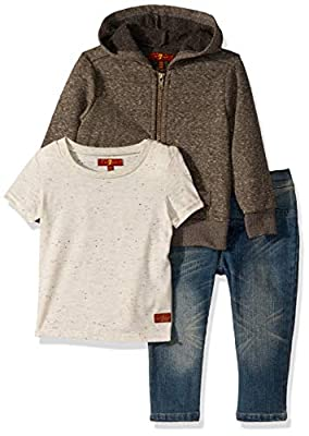 7 For All Mankind Baby Boys 3 Piece Set, French Terry Hoodie Heather Charcoal, 12M