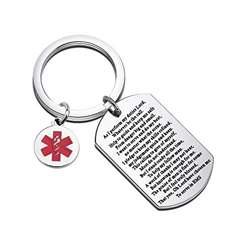 Gzrlyf EMS Prayer Keychain Inspirational Ems Gifts First Responder Gifts EMS Appreciation Gifts (Keychain)