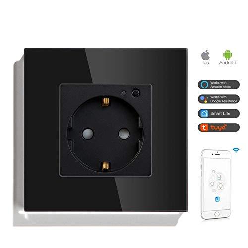 YPASDJH Portátil Soltero WiFi Wall Socket Work con Tuya Smart Life Socket WiFi Colors 86 * 86mm for hogar Inteligente Mini Enchufe WiFi (Color : Black, Rated Voltage : 110 250V)
