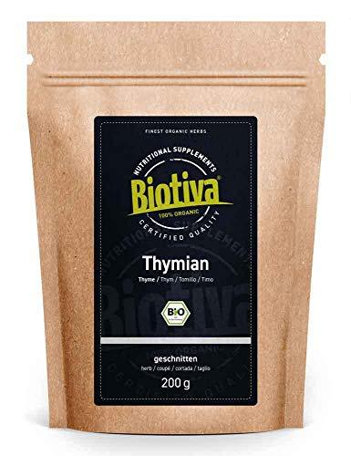 Thymian Kraut Bio 200g - Echter Thymian, geschnitten - Thymus vulgaris - ohne Trennmittel - abgefüllt und kontrolliert in Deutschland (DE-ÖKO-005)