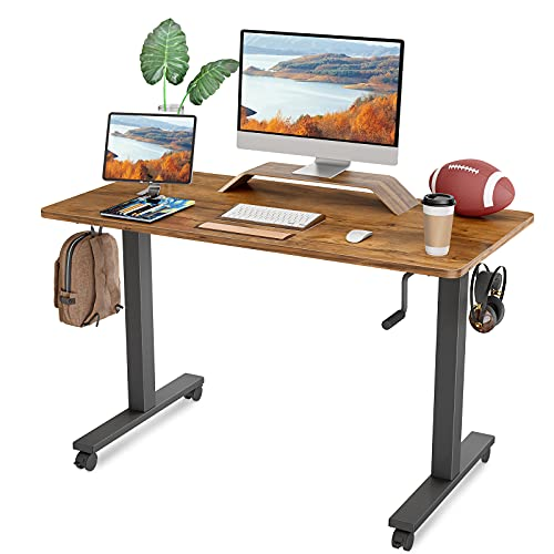 FEZIBO Crank Adjustable Height Standing Desk, 48 x 24 Inches Manual Stand up Desk, Sit Stand Desk with Handle, Home Office Desk with Walnut Top and Black Frame