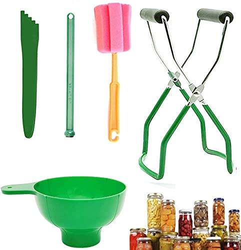 Canning Kit, 5 Pcs Can Supplies Tool Set Include Mason Jar Lifter, Lid Lift, canister Funnel, Canner Bubble Remover, Clean Brush