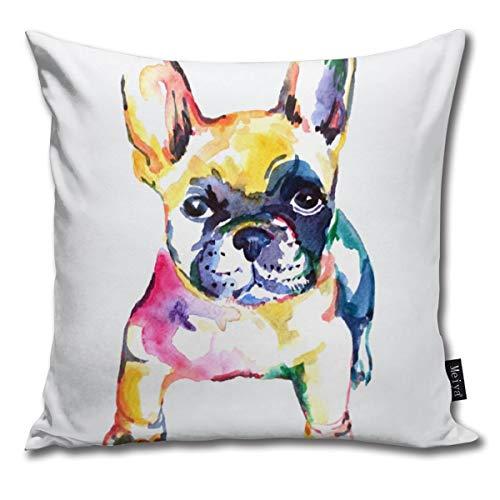 Elsaone Bulldog francés Bulldog Blanco Fundas de cojín de Arco Iris Fundas de cojín Decorativas cuadradas para Sala de Estar, sofá, Cama de 18 x 18 Pulgadas / 45 x 45 cm