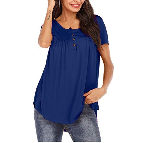 Camiseta Mujer Blusa Mujer Sexy Elegante De Gran Tamaño Cuello Redondo De Manga Corta Verano Color Sólido Clásico Cómodo Vacaciones Casual Mujer B-Blue L