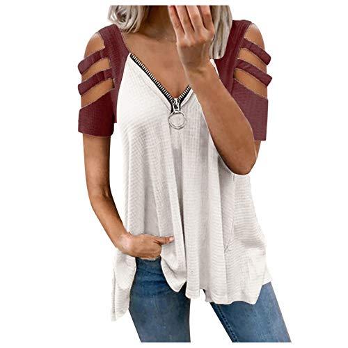 Hunpta @ Camiseta de verano para mujer, vintage, manga corta, túnica, gofre, sudadera, sin hombros, para niñas, mujeres, adolescentes, callejero, cuello en V Vino A XXL